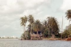 Lagos harbor - traditional village - modern buildings