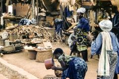 Yoruba market women wearing Adire cloth